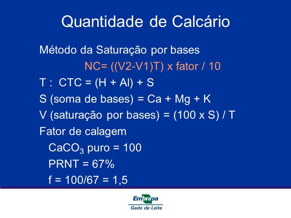 Quantidade de Calcário Método da Saturação por bases NC= ((V2-V1)T) x fator / 10 T : CTC = (H + Al) + S S (soma de bases) = Ca + Mg + K V (saturação p