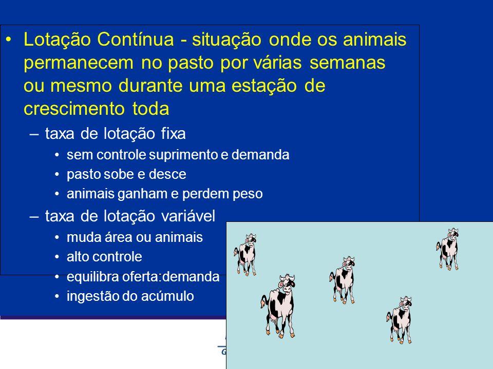 Lotação Contínua - situação onde os animais permanecem no pasto por várias semanas ou mesmo durante uma estação de crescimento toda –taxa de lotação f