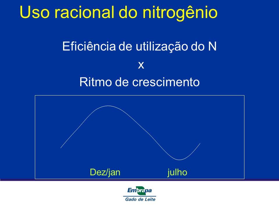 Uso racional do nitrogênio Eficiência de utilização do N x Ritmo de crescimento Dez/jan julho