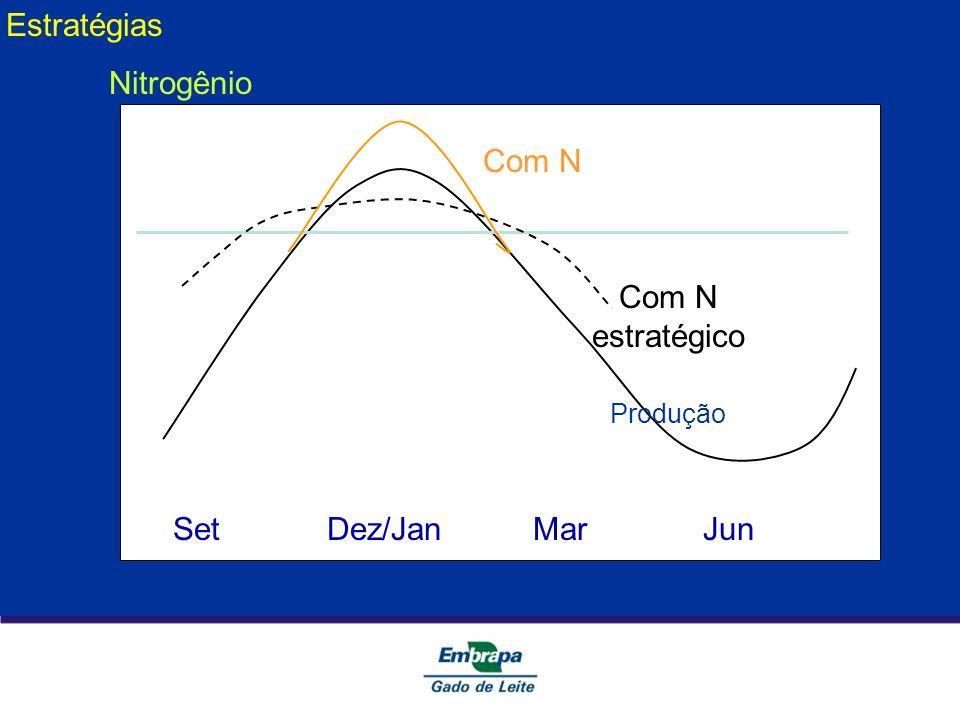 Set Dez/Jan Mar Jun Produção Com N estratégico Com N Estratégias Nitrogênio