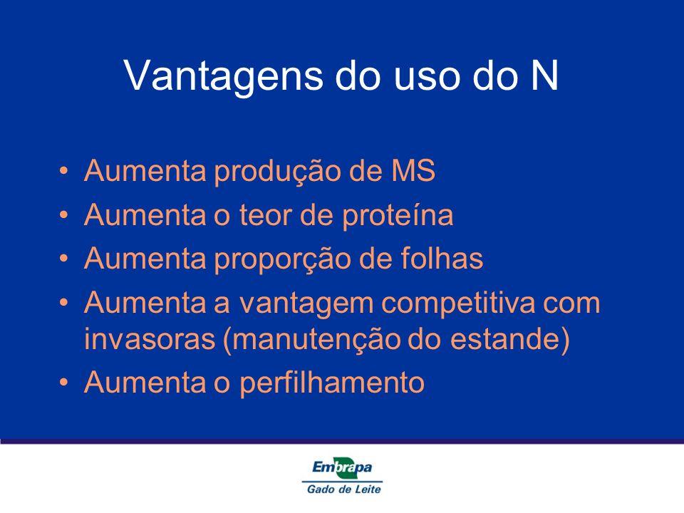 Vantagens do uso do N Aumenta produção de MS Aumenta o teor de proteína Aumenta proporção de folhas Aumenta a vantagem competitiva com invasoras (manu
