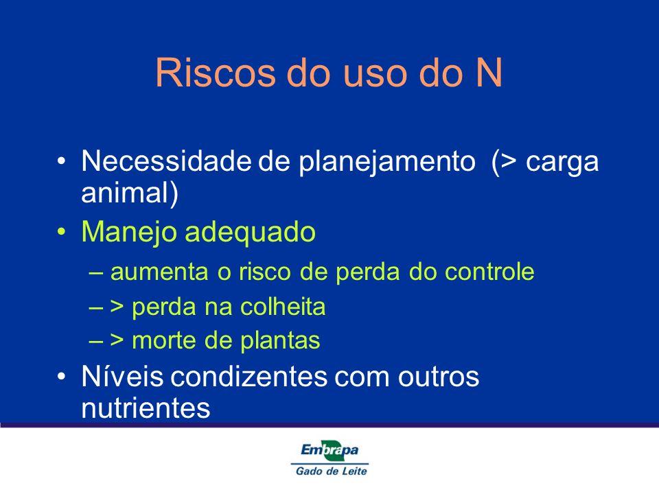 Riscos do uso do N Necessidade de planejamento (> carga animal) Manejo adequado – aumenta o risco de perda do controle –> perda na colheita –> morte d