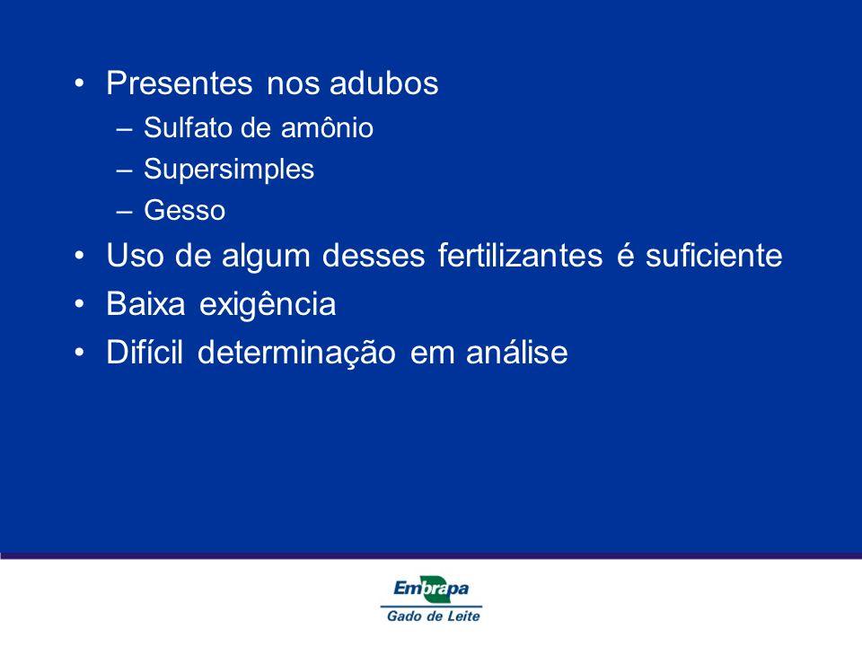 Presentes nos adubos –Sulfato de amônio –Supersimples –Gesso Uso de algum desses fertilizantes é suficiente Baixa exigência Difícil determinação em an