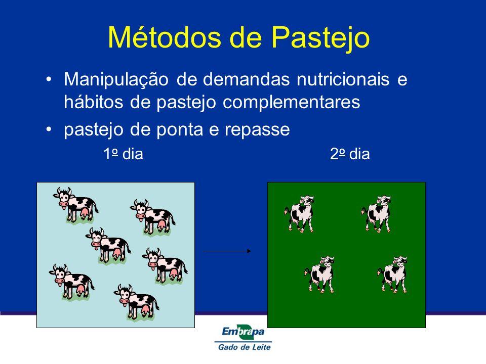 Métodos de Pastejo Manipulação de demandas nutricionais e hábitos de pastejo complementares pastejo de ponta e repasse 1 o dia 2 o dia