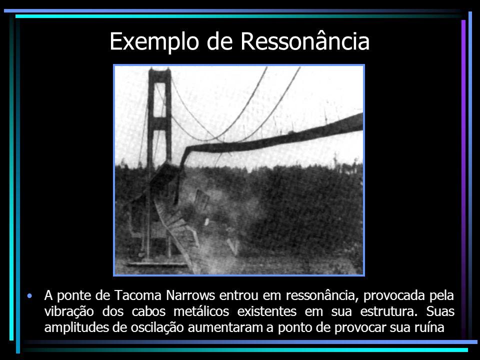 Exemplo de Ressonância A ponte de Tacoma Narrows entrou em ressonância, provocada pela vibração dos cabos metálicos existentes em sua estrutura. Suas