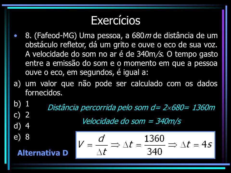 Exercícios 8. (Fafeod-MG) Uma pessoa, a 680m de distância de um obstáculo refletor, dá um grito e ouve o eco de sua voz. A velocidade do som no ar é d