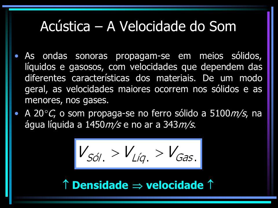 Acústica – A Velocidade do Som As ondas sonoras propagam-se em meios sólidos, líquidos e gasosos, com velocidades que dependem das diferentes caracter