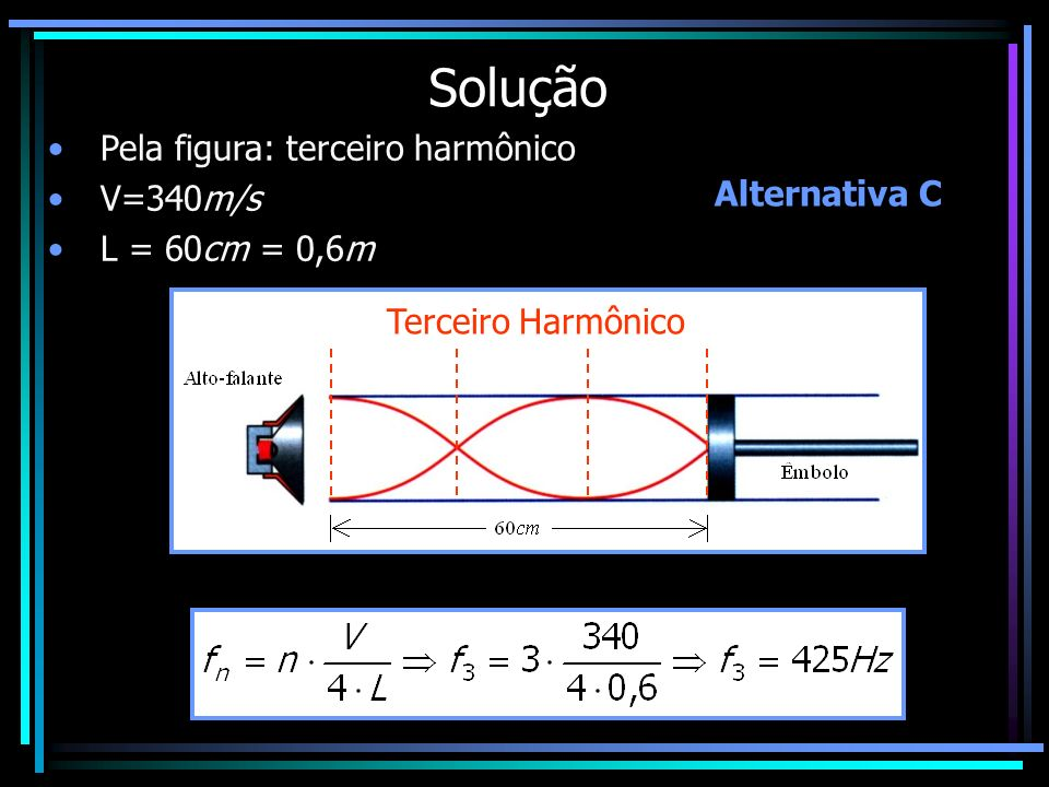 Solução Pela figura: terceiro harmônico V=340m/s L = 60cm = 0,6m Terceiro Harmônico Alternativa C