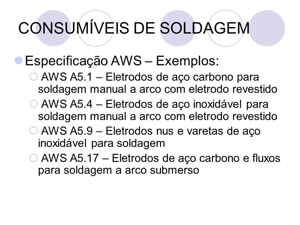 CONSUMÍVEIS DE SOLDAGEM Especificação AWS – Exemplos: AWS A5.1 – Eletrodos de aço carbono para soldagem manual a arco com eletrodo revestido AWS A5.4