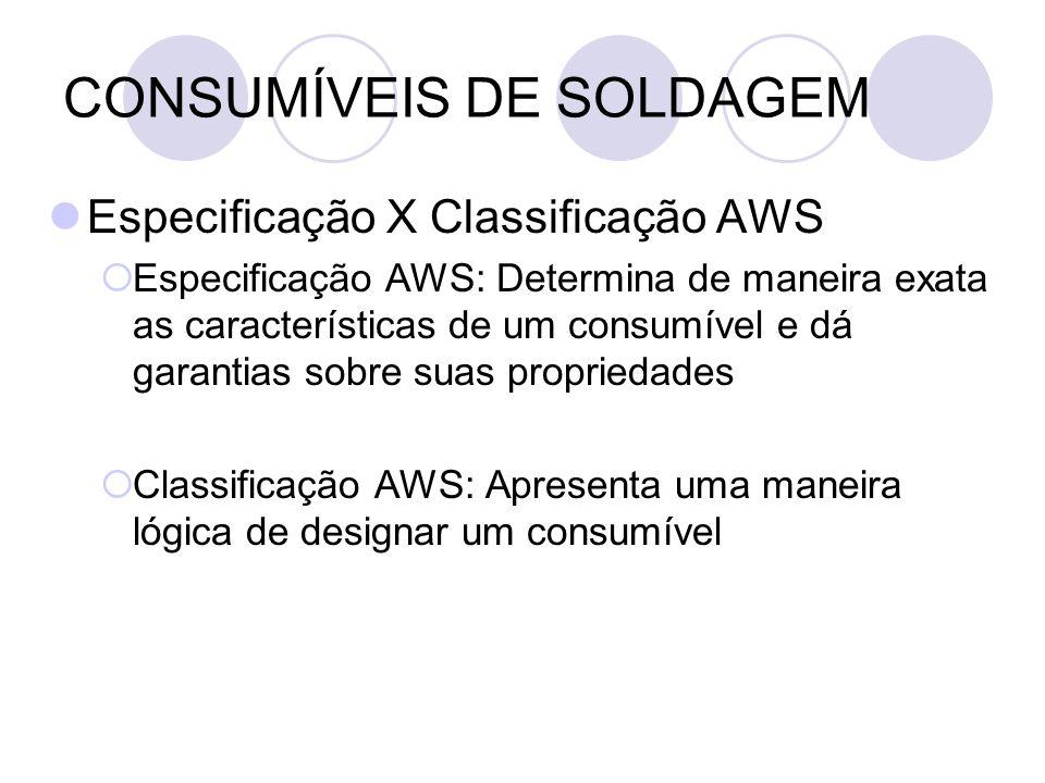 CONSUMÍVEIS DE SOLDAGEM Especificação X Classificação AWS Especificação AWS: Determina de maneira exata as características de um consumível e dá garan