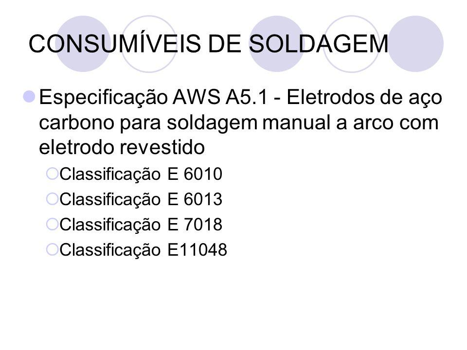 CONSUMÍVEIS DE SOLDAGEM Especificação AWS A5.1 - Eletrodos de aço carbono para soldagem manual a arco com eletrodo revestido Classificação E 6010 Clas