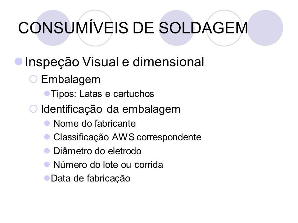 CONSUMÍVEIS DE SOLDAGEM Inspeção Visual e dimensional Embalagem Tipos: Latas e cartuchos Identificação da embalagem Nome do fabricante Classificação A