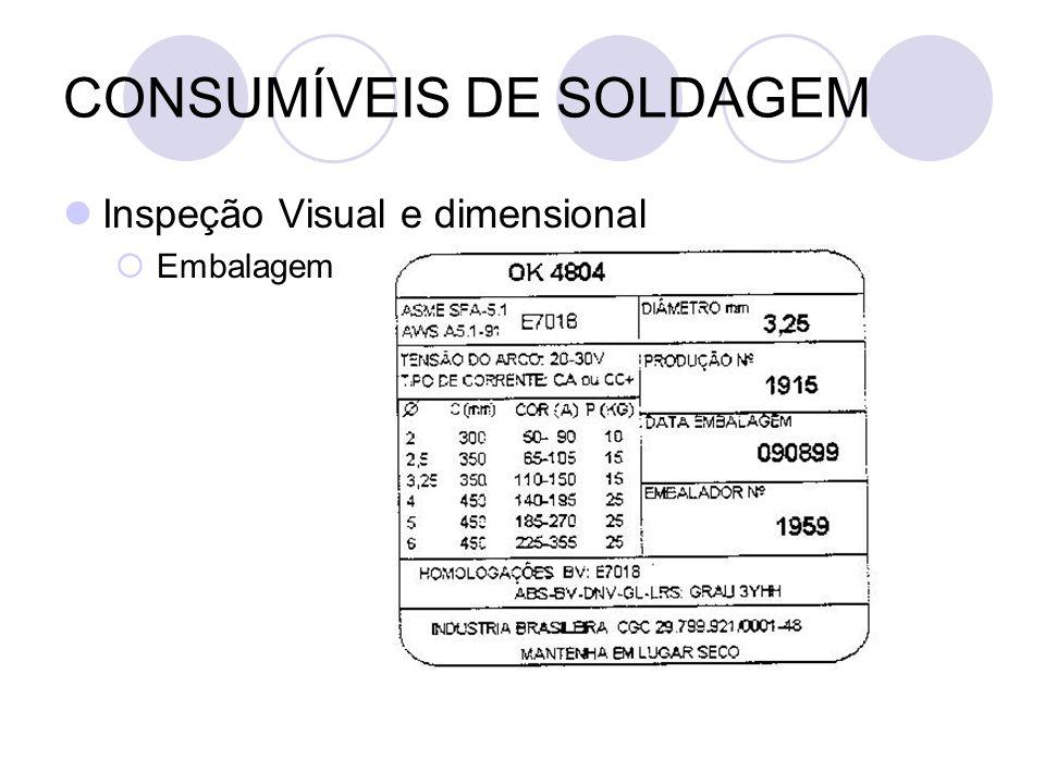 CONSUMÍVEIS DE SOLDAGEM Inspeção Visual e dimensional Embalagem
