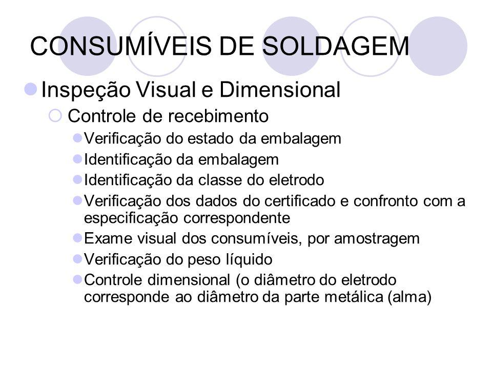 CONSUMÍVEIS DE SOLDAGEM Inspeção Visual e Dimensional Controle de recebimento Verificação do estado da embalagem Identificação da embalagem Identifica