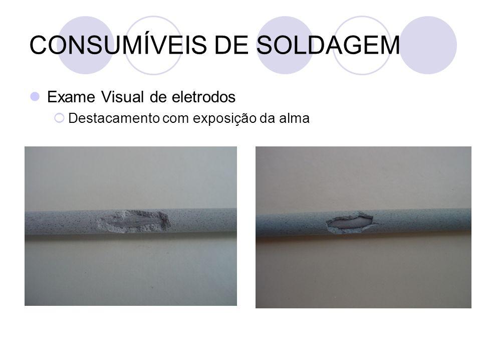 CONSUMÍVEIS DE SOLDAGEM Exame Visual de eletrodos Destacamento com exposição da alma