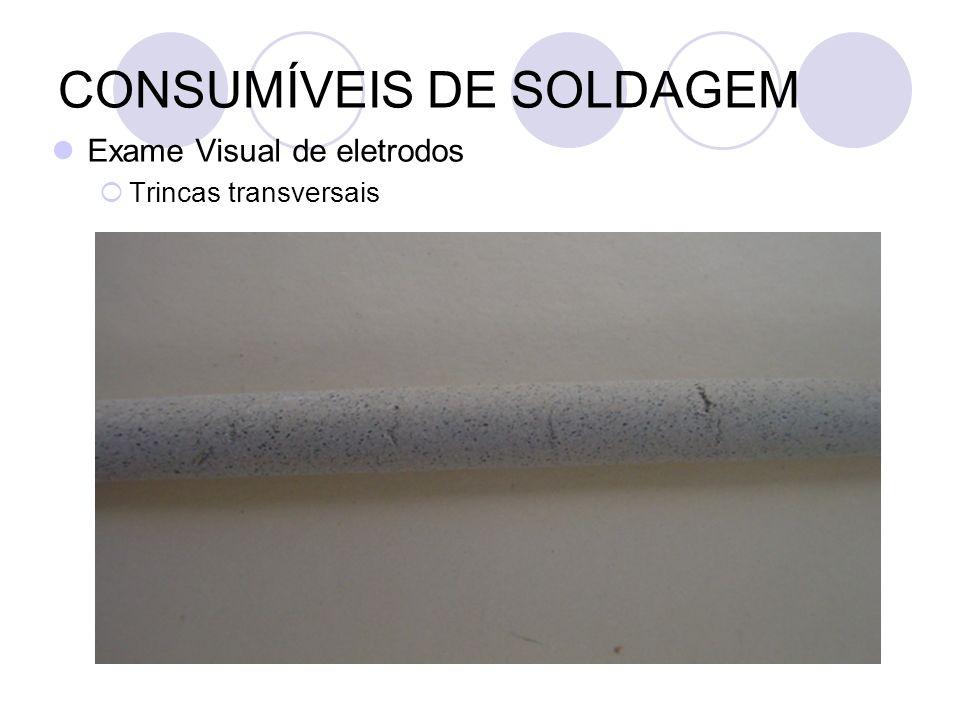 CONSUMÍVEIS DE SOLDAGEM Exame Visual de eletrodos Trincas transversais