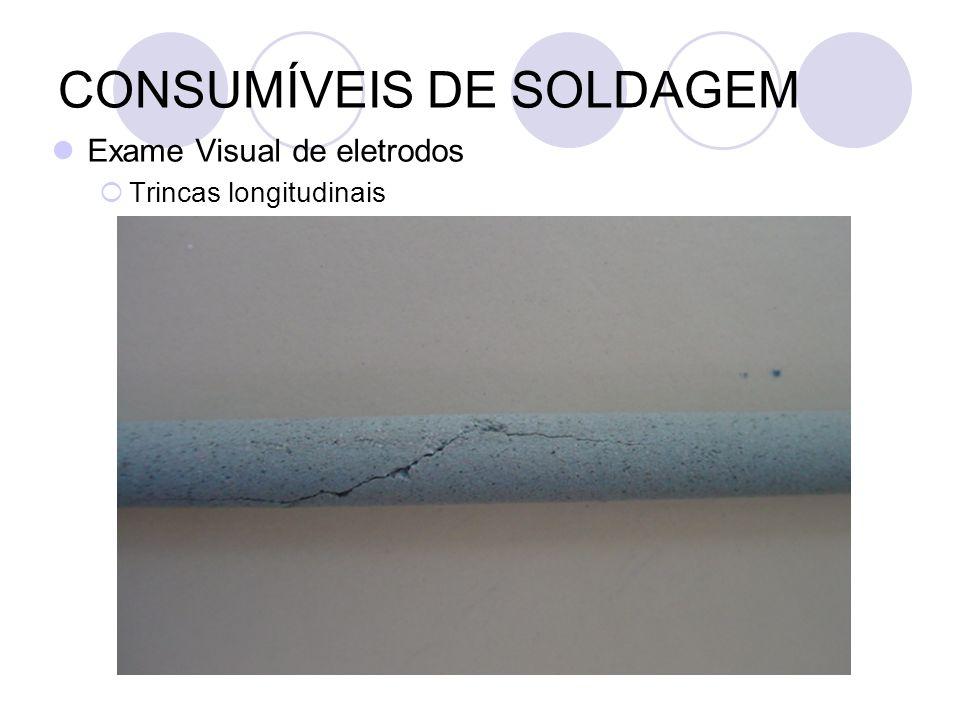 CONSUMÍVEIS DE SOLDAGEM Exame Visual de eletrodos Trincas longitudinais