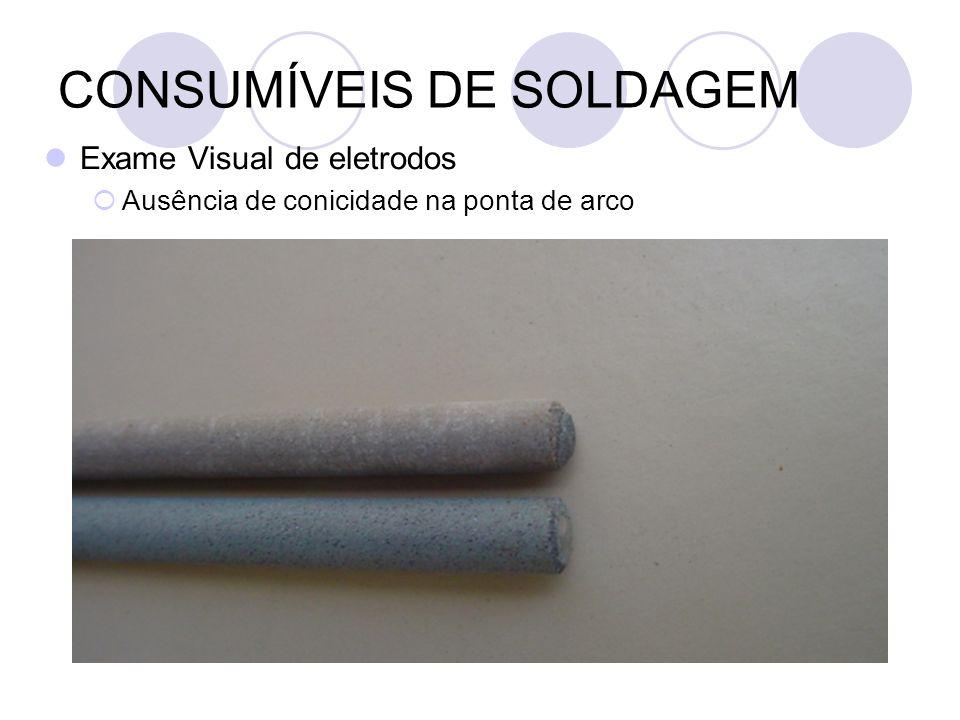 CONSUMÍVEIS DE SOLDAGEM Exame Visual de eletrodos Ausência de conicidade na ponta de arco
