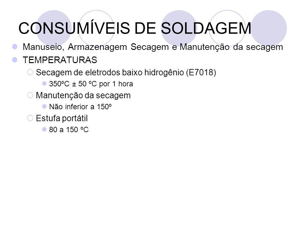 CONSUMÍVEIS DE SOLDAGEM Manuseio, Armazenagem Secagem e Manutenção da secagem TEMPERATURAS Secagem de eletrodos baixo hidrogênio (E7018) 350ºC ± 50 ºC