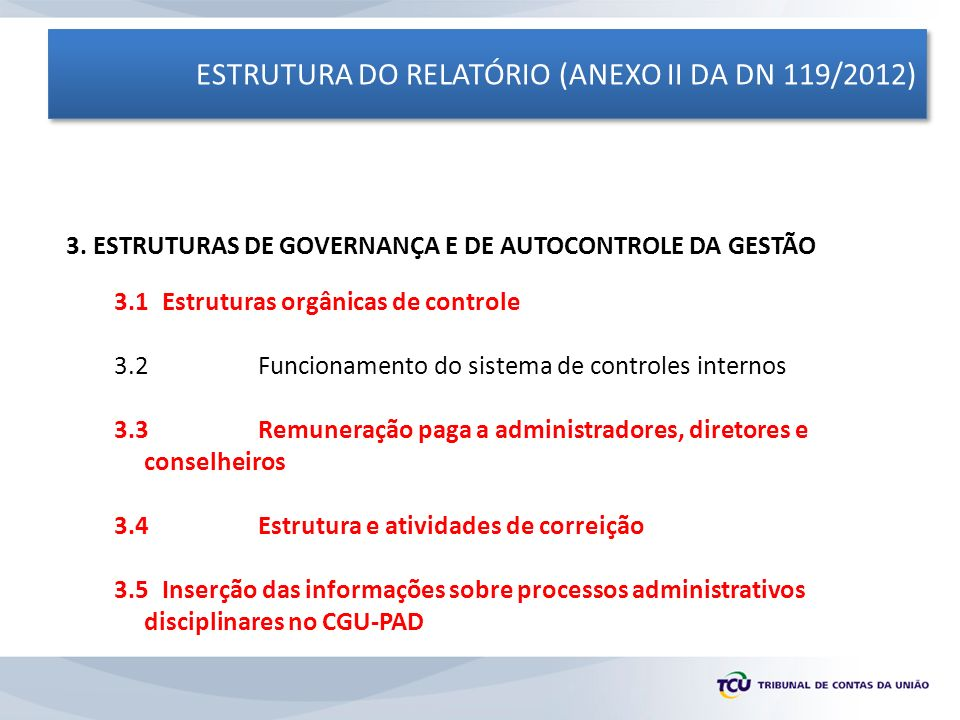 ESTRUTURA DO RELATÓRIO (ANEXO II DA DN 119/2012) 3. ESTRUTURAS DE GOVERNANÇA E DE AUTOCONTROLE DA GESTÃO 3.1 Estruturas orgânicas de controle 3.2Funci