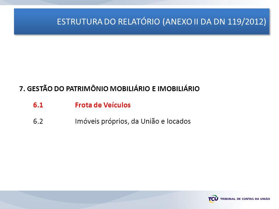 ESTRUTURA DO RELATÓRIO (ANEXO II DA DN 119/2012) 7. GESTÃO DO PATRIMÔNIO MOBILIÁRIO E IMOBILIÁRIO 6.1 Frota de Veículos 6.2Imóveis próprios, da União