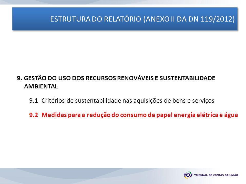 ESTRUTURA DO RELATÓRIO (ANEXO II DA DN 119/2012) 9. GESTÃO DO USO DOS RECURSOS RENOVÁVEIS E SUSTENTABILIDADE AMBIENTAL 9.1 Critérios de sustentabilida