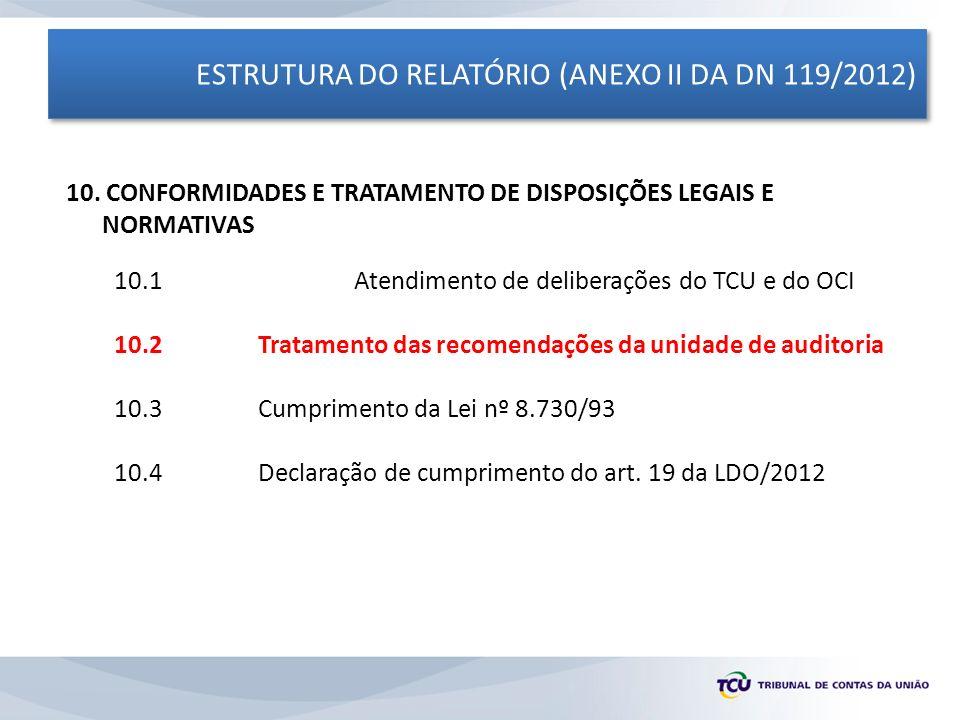 ESTRUTURA DO RELATÓRIO (ANEXO II DA DN 119/2012) 10. CONFORMIDADES E TRATAMENTO DE DISPOSIÇÕES LEGAIS E NORMATIVAS 10.1 Atendimento de deliberações do