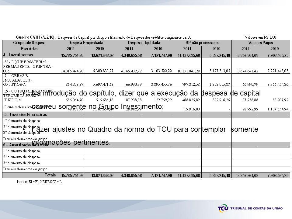 Na introdução do capítulo, dizer que a execução da despesa de capital ocorreu somente no Grupo Investimento; Fazer ajustes no Quadro da norma do TCU p