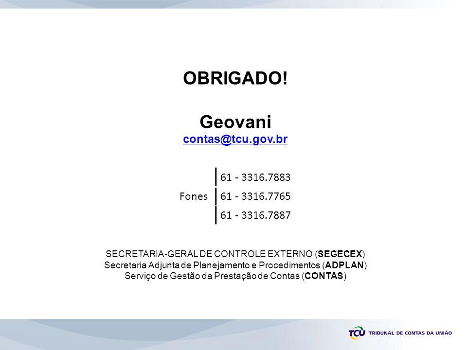 OBRIGADO! Geovani contas@tcu.gov.br SECRETARIA-GERAL DE CONTROLE EXTERNO (SEGECEX) Secretaria Adjunta de Planejamento e Procedimentos (ADPLAN) Serviço