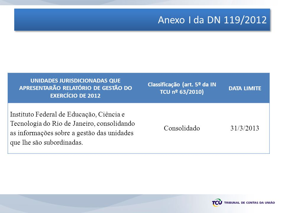 ESTRUTURA DO RELATÓRIO (ANEXO II DA DN 119/2012) 8.