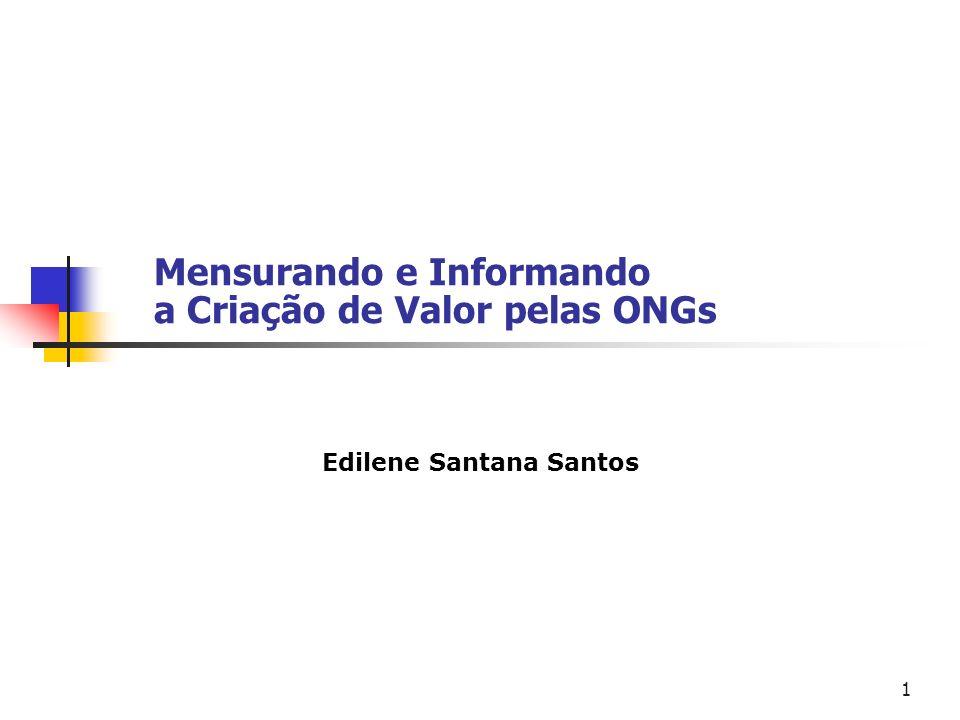 1 Mensurando e Informando a Criação de Valor pelas ONGs Edilene Santana Santos