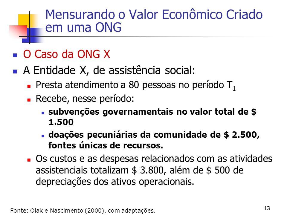 13 Mensurando o Valor Econômico Criado em uma ONG O Caso da ONG X A Entidade X, de assistência social: Presta atendimento a 80 pessoas no período T 1