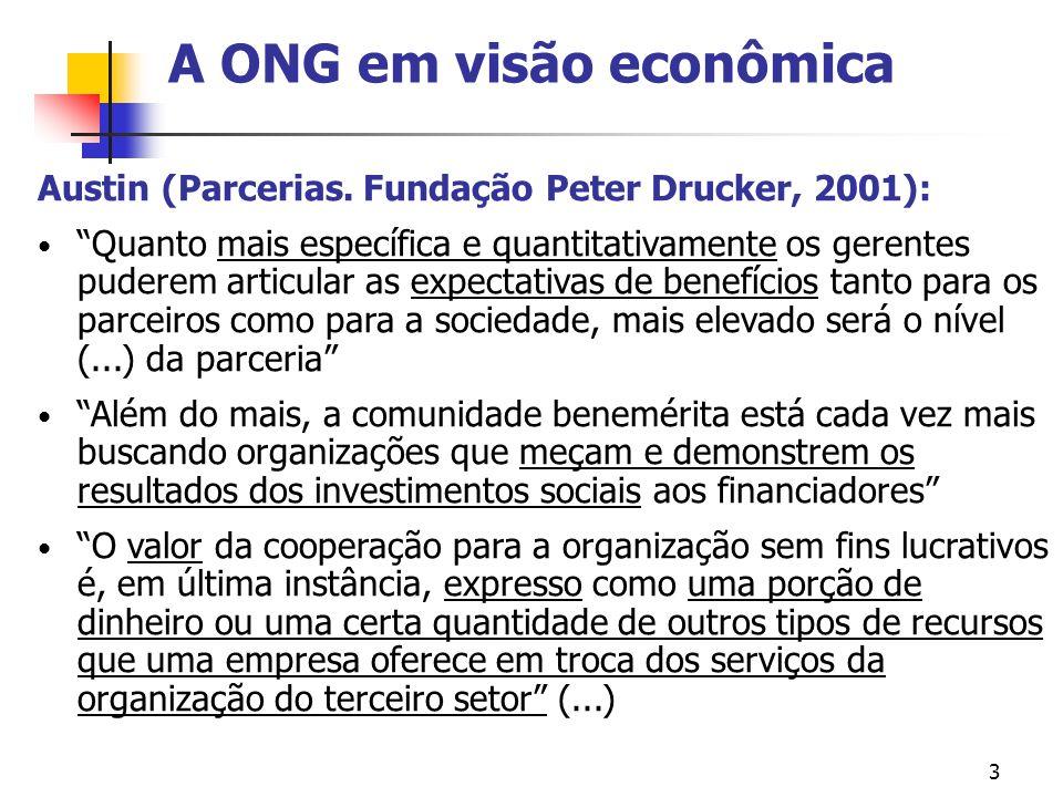 3 A ONG em visão econômica Austin (Parcerias. Fundação Peter Drucker, 2001): Quanto mais específica e quantitativamente os gerentes puderem articular
