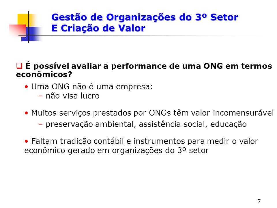 7 É possível avaliar a performance de uma ONG em termos econômicos? Gestão de Organizações do 3º Setor E Criação de Valor Uma ONG não é uma empresa: –