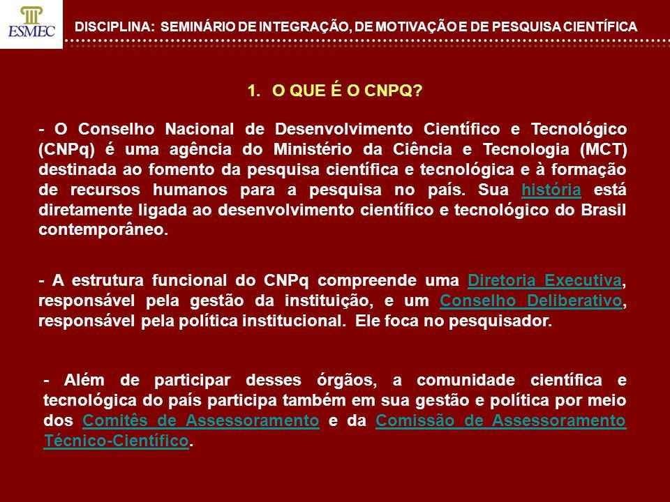 DISCIPLINA: SEMINÁRIO DE INTEGRAÇÃO, DE MOTIVAÇÃO E DE PESQUISA CIENTÍFICA 1.O QUE É O CNPQ? - O Conselho Nacional de Desenvolvimento Científico e Tec