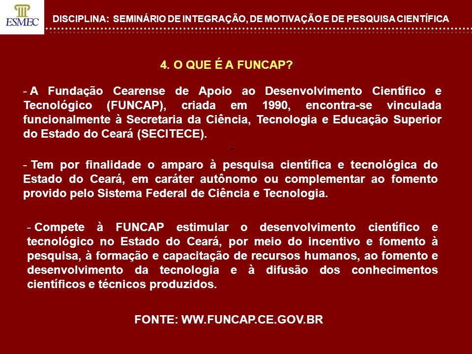 DISCIPLINA: SEMINÁRIO DE INTEGRAÇÃO, DE MOTIVAÇÃO E DE PESQUISA CIENTÍFICA FIM.