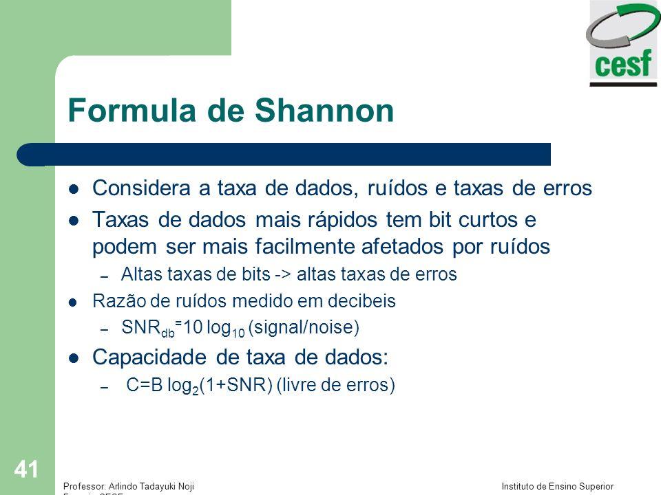 Professor: Arlindo Tadayuki Noji Instituto de Ensino Superior Fucapi - CESF 41 Formula de Shannon Considera a taxa de dados, ruídos e taxas de erros T