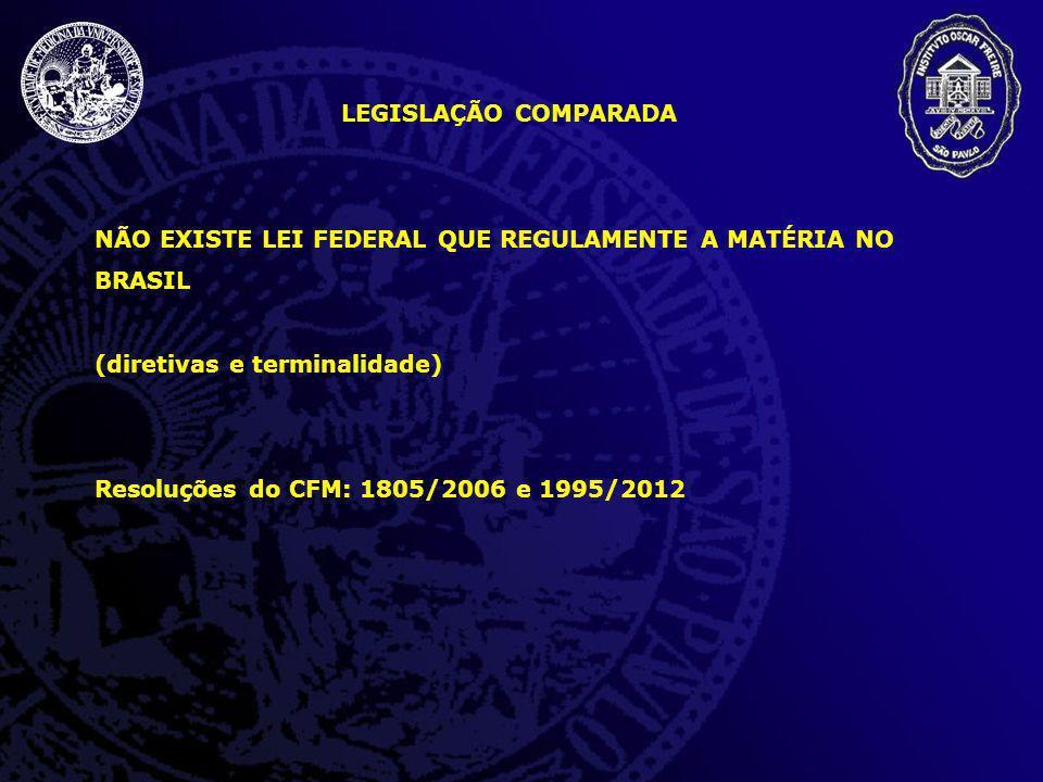 LEGISLAÇÃO COMPARADA NÃO EXISTE LEI FEDERAL QUE REGULAMENTE A MATÉRIA NO BRASIL (diretivas e terminalidade) Resoluções do CFM: 1805/2006 e 1995/2012