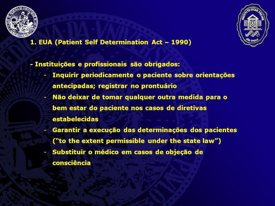 1. EUA (Patient Self Determination Act – 1990) - Instituições e profissionais são obrigados: -Inquirir periodicamente o paciente sobre orientações ant