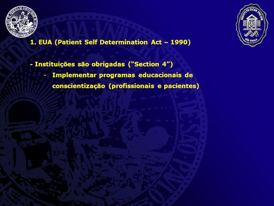 1. EUA (Patient Self Determination Act – 1990) - Instituições são obrigadas (Section 4) -Implementar programas educacionais de conscientização (profis