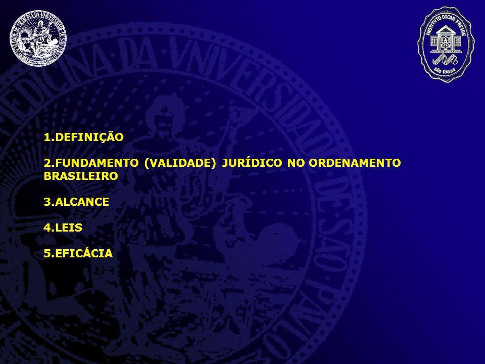 1.DEFINIÇÃO 2.FUNDAMENTO (VALIDADE) JURÍDICO NO ORDENAMENTO BRASILEIRO 3.ALCANCE 4.LEIS 5.EFICÁCIA