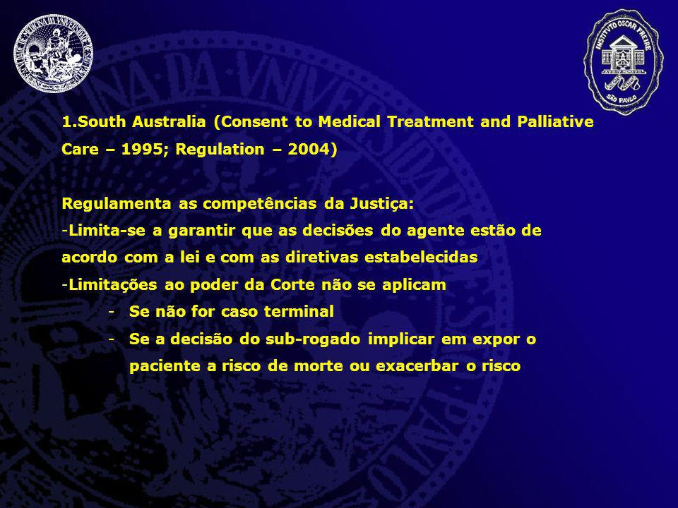1.South Australia (Consent to Medical Treatment and Palliative Care – 1995; Regulation – 2004) Regulamenta as competências da Justiça: -Limita-se a ga