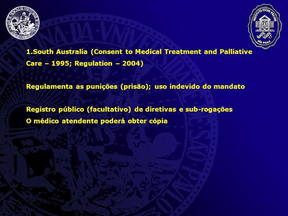 1.South Australia (Consent to Medical Treatment and Palliative Care – 1995; Regulation – 2004) Regulamenta as punições (prisão); uso indevido do manda