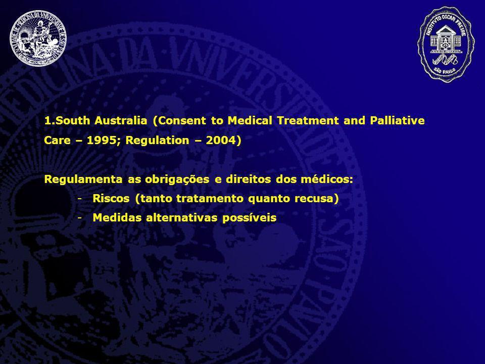 1.South Australia (Consent to Medical Treatment and Palliative Care – 1995; Regulation – 2004) Regulamenta as obrigações e direitos dos médicos: -Risc