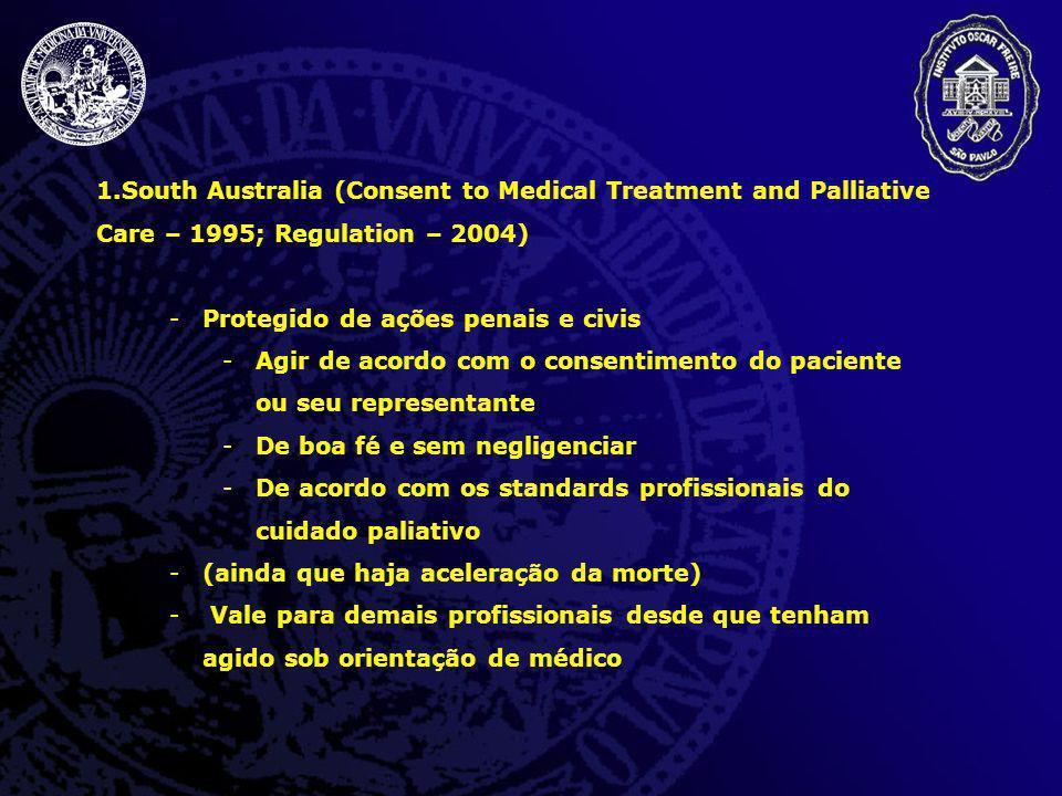 1.South Australia (Consent to Medical Treatment and Palliative Care – 1995; Regulation – 2004) -Protegido de ações penais e civis -Agir de acordo com