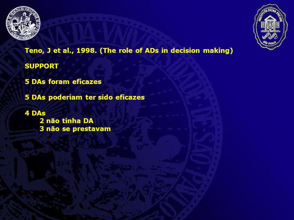 Teno, J et al., 1998. (The role of ADs in decision making) SUPPORT 5 DAs foram eficazes 5 DAs poderiam ter sido eficazes 4 DAs 2 não tinha DA 3 não se