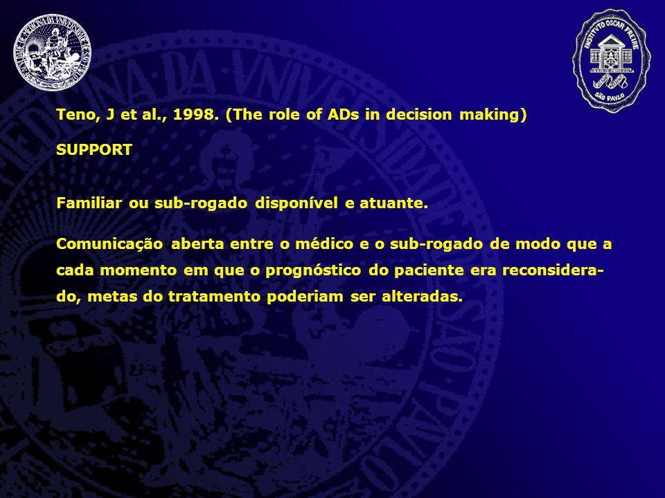 Teno, J et al., 1998. (The role of ADs in decision making) SUPPORT Familiar ou sub-rogado disponível e atuante. Comunicação aberta entre o médico e o