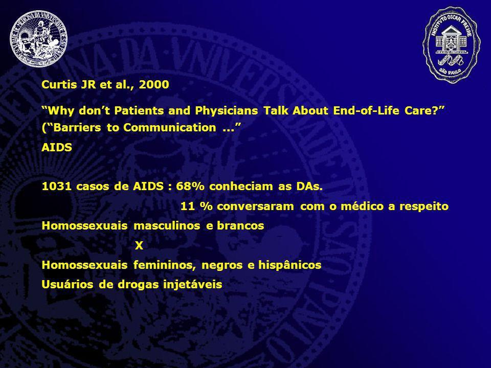 Curtis JR et al., 2000 Why dont Patients and Physicians Talk About End-of-Life Care? (Barriers to Communication... AIDS 1031 casos de AIDS : 68% conhe