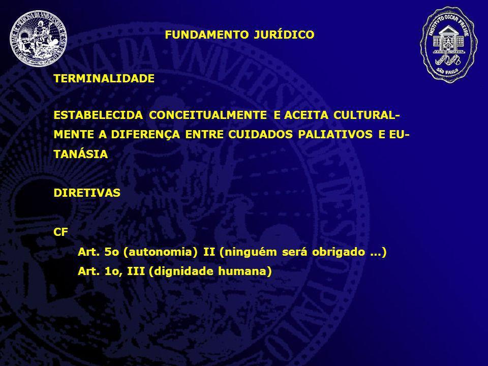 TERMINALIDADE ESTABELECIDA CONCEITUALMENTE E ACEITA CULTURAL- MENTE A DIFERENÇA ENTRE CUIDADOS PALIATIVOS E EU- TANÁSIA DIRETIVAS CF Art. 5o (autonomi
