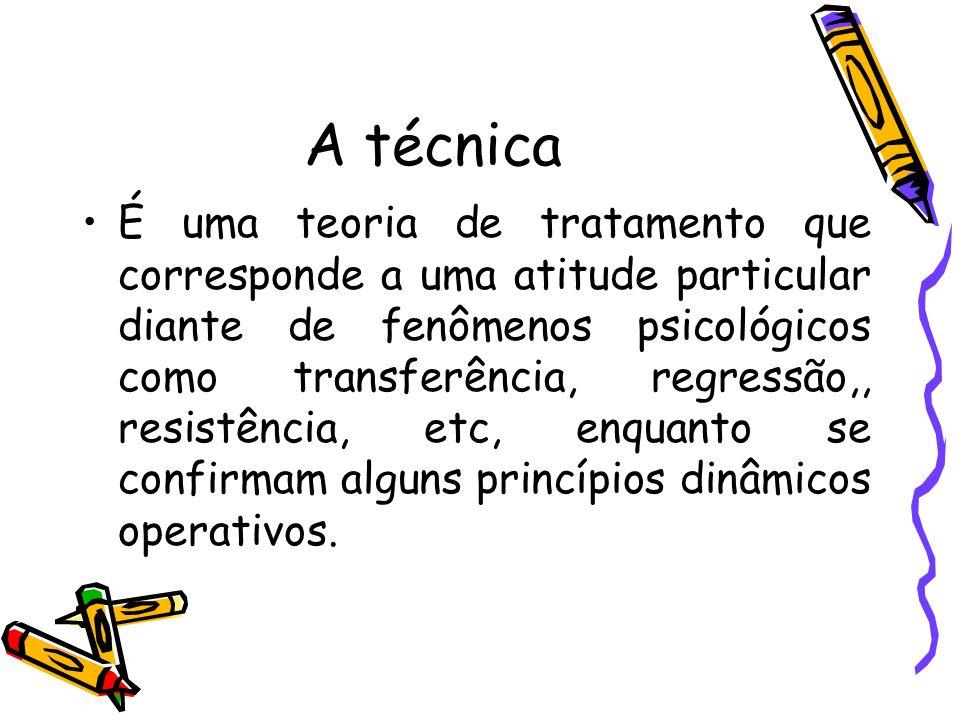 A técnica É uma teoria de tratamento que corresponde a uma atitude particular diante de fenômenos psicológicos como transferência, regressão,, resistê